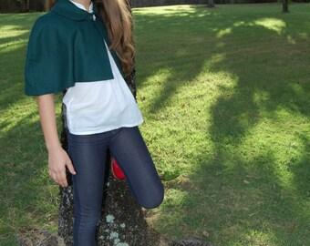 Girls Green Wool Capelet