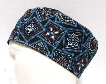 Mens Surgical Cap, Scrub Hat or Chemo Hat Black and Turquoise Bandana