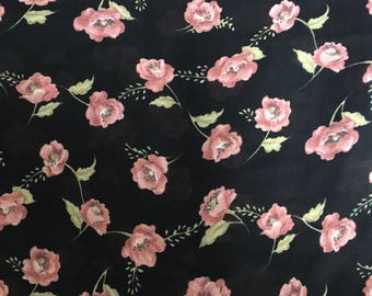 Pink floral on black sheer fabric remnant