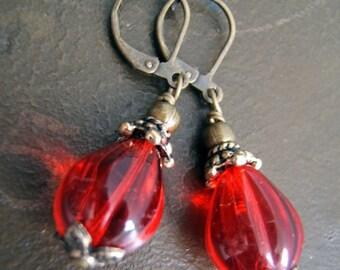 Earrings - Red Glass Drops