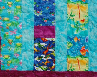 Sale! Frog Princess Teal, Blue, and Purple Strip Pieced Lap or Twin Quilt