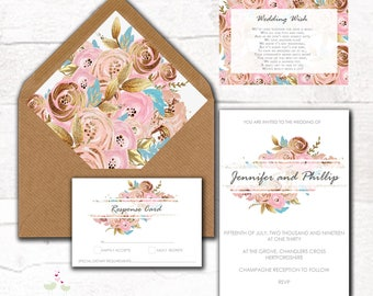 Personalised Rose Gold Floral Print Wedding Invitation set with RSVP, Poem Card & envelope liner
