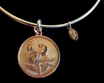 Flower of the Month Wire Bangle Bracelet