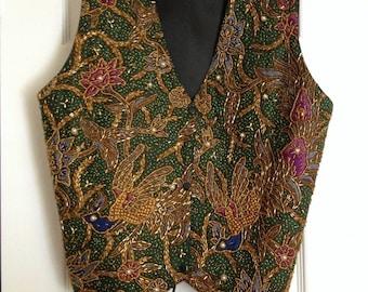 Stunning Beaded Vest in Jewel Tones