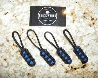 "Thin Blue Line ""Backwood Paracord"" Zipper Pulls (Set of 4) Made For Jeep Wrangler, Backpacks, Tactical Police Bags - Support Law Enforcement"