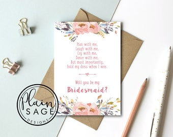 Will you be my Bridesmaid / Maid of Honour Wedding Card Invitation Funny PEE WEE