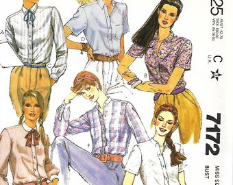 McCall's 7172 Misses Shirt Sewing Pattern, Short or Long Sleeves, Collar Variations, Size 8, UNCUT