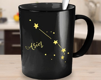 Aries Zodiac Constellation Mug - Black. Great Gift Idea - Two Sizes