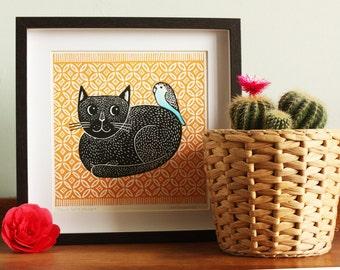Black Cat and Budgie – Ochre Rug , Original Linocut Print, Signed Open Edition, Free Postage in UK, Block print, Printmaking,