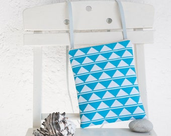 A handmade fabric small crossbody bag in light blue and white, a really original bag, a womens bag, an unique gift for her