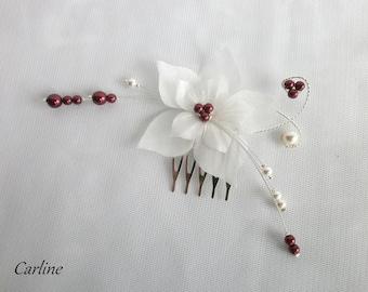 Burgundy pearls ivory silk flower bridal hair comb