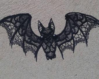 Halloween Bat, Black Bat, Lace Bat, halloween, halloween decoration, hanging bat, handmade bat, handmade halloween decoration