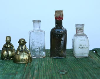 Tiny vintage bottles from Milan, Rome and L'Aquila