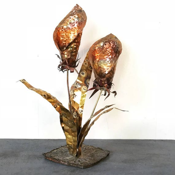vintage metal sculpture - mid century Brutalist Calla Lily flowers - torch cut brass copper - Curtis Jere style
