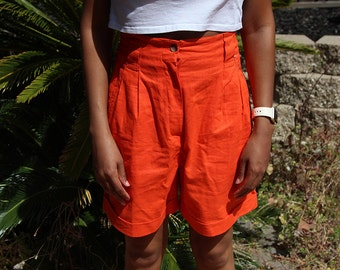 Vintage Hot Orange High Waist Shorts