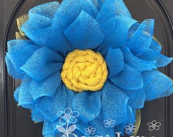 Blue Flower, Daisy wreath, Flower Wreath, Burlap Wreath, Front Door Wreath, Summer Wreath, Handmade Gift