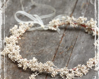 Flower Head Wreath - Wedding Halo - Floral Crown Accessories - Boho Bride - Weddings, Festival Faire - Flower Girl, Bridal - Harajuku