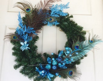 Azure Blue Peacock Christmas Holiday Wreath by Denise's Creations