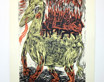 """Woodcut, """"Strange Mad Song"""" - Original Relief Woodcut and Silkscreen, Hand-printed, Limited Edition of 9 ONLY"""