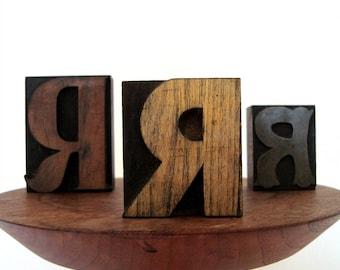 Letterpress 3 Letter R Printer Blocks Vintage Initial R Wood and Metal Print Font Collection Display