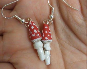 Polymer Clay Amanita Toadstool Earrings