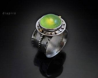 Sterling Ring, Gold 22k, Precious Prehnite, One of a kind, Statement Ring, Gemstone, Diapiro