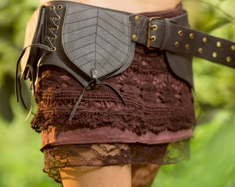 Yara Skirt (Brown) - Festival Clothing Gypsy Bohemian Skirt Hippie Lace Crochet Midi Knee Goa Ethnic Nomadic Boho