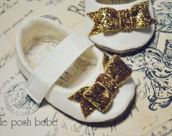Baby Girl Shoes Toddler Girl Shoes Infant Shoes Soft Soled Shoes Flower Girl Shoes Birthday Girl Shoes Ivory Gold Bow Shoes - Belle