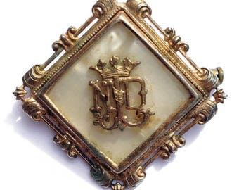 """Our Lady of Notre Dame Brooch, with Trombone Clasp, Celluloid """"Pearl""""  (#MJ3)"""