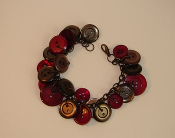 Bracelet - wine and gray button bracelet