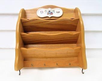 Vintage Wall Rack | Key Rack | Wooden Mail Rack | Key Holder | Wall Organizer | Wood Rack | Mail Sorter Rack | Hanging Rack