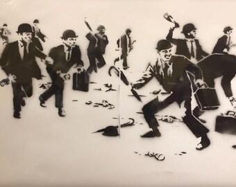 BANKSY Canvas Chequebook Vandalism Print Banksy Graffiti Art Print Gallery Wrapped