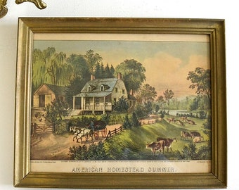 vintage framed print American Homestead Summer colored country print