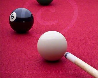 Photographie de billard, Instant Télécharger, Photo Eight Ball, Table de billard Clipart, bâton de Cue, Sports Photo, Image Stock, rouge, Photo de loisirs