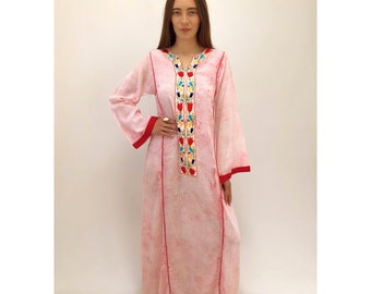 Indian Cherry Blossom Dress // vintage 70s 1970s hand embroidered ethnic boho hippie pink white hippy bohemian cotton gauze maxi // S Small