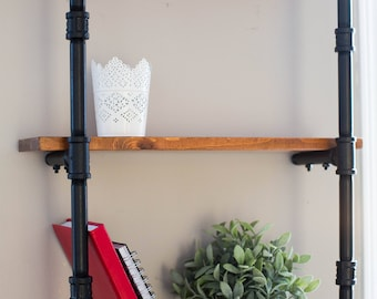 Handcrafted Wood and Cast Iron 3 Tier Shelf