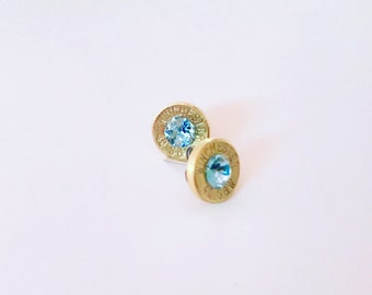 Aquamarine Swarovski Crystal in a .40 bullet earrings