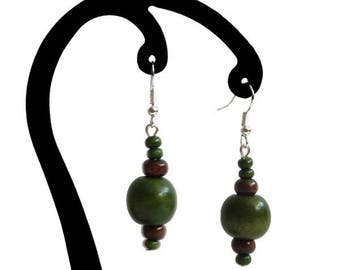 Green and dark brown wood earrings