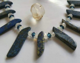 Ancient Blue Ocean Lapis Lazuli  Rainbow Moonstone with Swarovski Crystals collar Necklace
