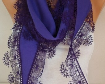Purple Pashmina Scarf, Spring Gift Ideas For Her Mom,Women Fashion Accessories, Lace Edge,birthday gift