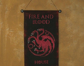 "Hand Painted  ""Fire and Blood"" House Targaryen Canvas Banner - Game of Thrones - Name and Motto - Three Headed Dragon - Sigil - cosplay prop"