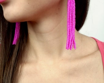 Hot pink tassel earrings boho earrings bridal earrings Fuchsia tassel earrings fringe earrings statement earrings pink earrings clip on