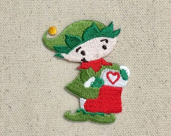 Christmas - Elf - Santa's Little Helper - Red Stocking - Iron on Applique - Embroidered Patch - 697275-A