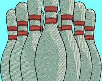 Realistic Bowling Pins Embroidery Design