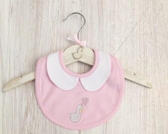 Little Swan Princess Baby Pink Peter Pan Collar Baby Bib Pink White Swan Pima Cotton Baby Shower Gift Christening Gift