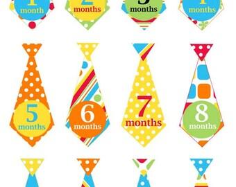 Rainbow ties - 036 - rainbow monthly baby boy tie decals