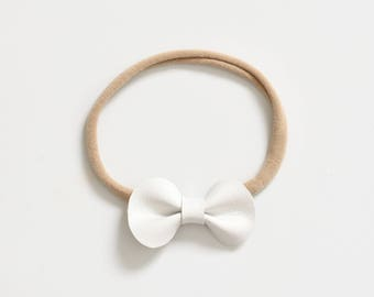 Petite Bow Headband - Vegan Leather Bow - Fall Bow - Infant Headband - White Bow