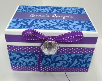 Newlywed Recipe Box -Blue on Blue Damask