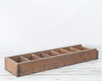 Vintage/Antique Wood Box Antique Divided Box Vintage Wood Drawer With Dividers