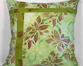 Pillow - Home Decor - Throw Pillow - Decorative Art Pillow - Hand Painted - Hand Dyed - Shades of Celery, Spring Green and Cranberry, OOAK,